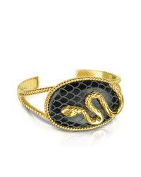 Just Cavalli Black Amazonia Gold Plated Bangle Bracelet
