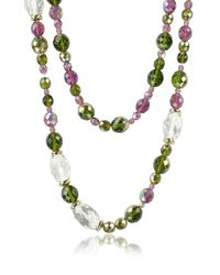 AZ Collection - Purple Double Beaded Long Chain Necklace - Lyst