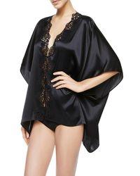 La Perla - Petite Macrame Wide & Short Black Satin Silk Night Robe - Lyst