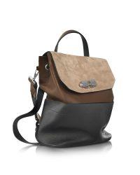 Carven - Brown Full Joy Color Block Suede And Leather Large Backpack/shoulder Bag - Lyst