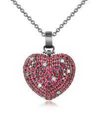 Azhar | Red Sterling Silver And Cubic Zirconia Heart Pendant Necklace | Lyst