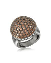 Azhar | Brown Sterling Silver Cubic Zirconia Semi-sphere Cocktail Ring | Lyst