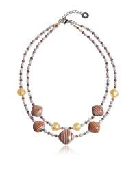 Antica Murrina - Millerighe 2 Double - Pastel Multicolor Murano Glass W/stripes And Gold Leaf Choker - Lyst