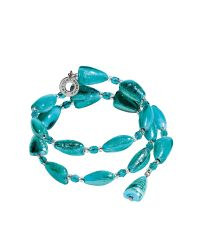 Antica Murrina Blue Marina 1 Rigido - Turquoise Green Murano Glass And Silver Leaf Bracelet