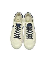D'Acquasparta - Davis Distressed Off White Leather And Blue Nubuck Men's Sneaker for Men - Lyst
