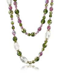 AZ Collection | Green Double Beaded Long Chain Necklace | Lyst