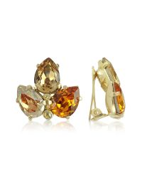 AZ Collection - Metallic Amber Crystal Clip-on Earrings - Lyst