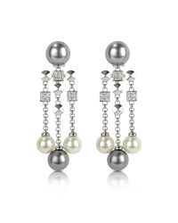 AZ Collection | White Glass Pearl Drops Clip On Earrings | Lyst