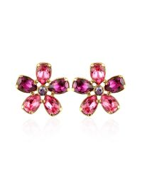 AZ Collection | Metallic Flower Gold Plated Clip-on Earrings | Lyst