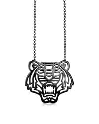 KENZO - Metallic Sterling Silver Cut Out Tiger Necklace - Lyst