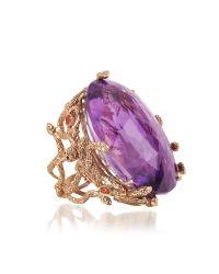Bernard Delettrez | Metallic Medusa Rose Gold W/dark Violet Amethyst Medusa Ring | Lyst