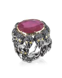 Bernard Delettrez | Skulls And Snakes Black Ring W/glass-treated Ruby | Lyst