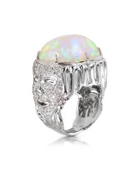 Bernard Delettrez | Metallic Drama Masks Gold Pave Ring W/opal And Diamonds | Lyst