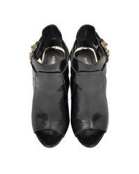 Roberto Cavalli | Serpent Black Leather Sandal | Lyst