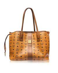 MCM | Brown Cognac Shopper Project Visetos Liz Reversible Medium Tote | Lyst