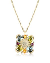 AZ Collection | Metallic Gold-plated Flower Drop Necklace | Lyst