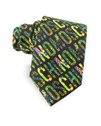 Moschino - Black & Multicolor Signature Print Twill Silk Narrow Tie for Men - Lyst