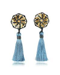 DSquared² | Samurai Blue Tassel Clip Earrings | Lyst