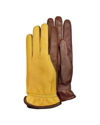 Pineider - Brown Men's Two-tone Deerskin Leather Gloves W/ Cashmere Lining for Men - Lyst