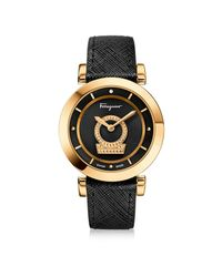 Ferragamo | Metallic Minuetto Gold Ip Stainless Steel Case And Black Saffiano Leather Strap Women's Watch W/black Guilloche' Dial | Lyst