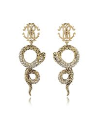 Roberto Cavalli - Metallic Golden Brass Snake Earrings W/crystals - Lyst