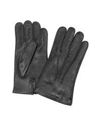 Forzieri - Black Herrenhandschuhe aus italienischem Leder und Kaschmir in schwarz for Men - Lyst
