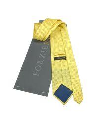 FORZIERI | Yellow Mini Blue Polkadot Printed Silk Tie & Pocket Square for Men | Lyst
