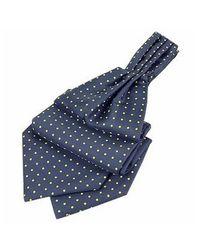 FORZIERI - Blue & Yellow Polkadot Pattern Pure Silk Ascot for Men - Lyst