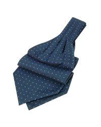 FORZIERI | Red Polkadot Pattern Dark Blue Twill Silk Ascot for Men | Lyst