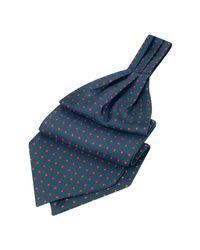 FORZIERI - Red Polkadot Pattern Dark Blue Twill Silk Ascot for Men - Lyst