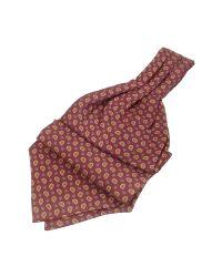 FORZIERI | Brown Mini Paisley Print Twill Silk Ascot for Men | Lyst