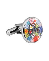 FORZIERI - Metallic Millefiori Murano Glass Silver Plated Cuff Links for Men - Lyst