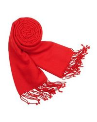 FORZIERI - Red Solid Pure Pashmina Fringed Shawl - Lyst