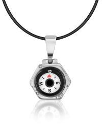 Forzieri | Metallic Stainless Steel Compass Pendant W/rubber Necklace | Lyst