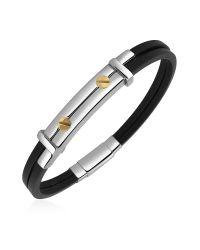 FORZIERI - Black Men's Stainless Steel And Rubber Screws Bracelet for Men - Lyst