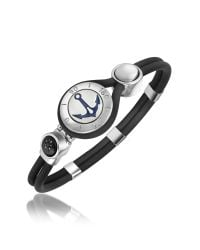 FORZIERI - Black Anchor & Compass Stainless Steel And Rubber Bracelet for Men - Lyst