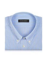 FORZIERI | Light Blue Striped Non Iron Cotton Dress Shirt for Men | Lyst