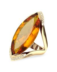 FORZIERI | Orange Gemstone And Diamond Yellow Gold Fashion Ring | Lyst