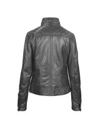 FORZIERI - Gray Black Motorcycle Leather Jacket - Lyst