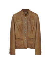FORZIERI | Light Brown Mandarin Collar Leather Jacket | Lyst