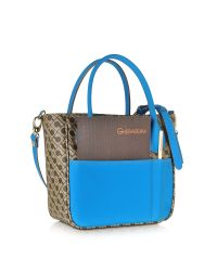 Gherardini - Gray Julieta Small Millerighe Fabric And Eco Leather Top Zip Tote Bag - Lyst