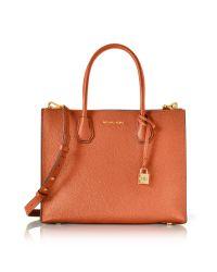 Michael Kors | Mercer Large Orange Pebble Leather Convertible Tote Bag | Lyst
