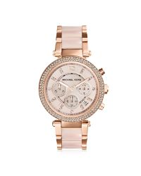 Michael Kors   Pink Mid-size Rose Golden Stainless Steel Parker Chronograph Glitz Watch   Lyst