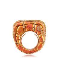 MM6 by Maison Martin Margiela - Metallic Logo Detail Copper Women's Ring - Lyst