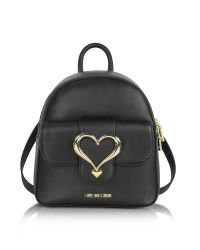 Love Moschino | Black Eco Leather Backpack W/heart Buckle | Lyst