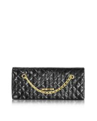 Love Moschino | Black Evening Laminated Quilted Eco Leather Clutch | Lyst