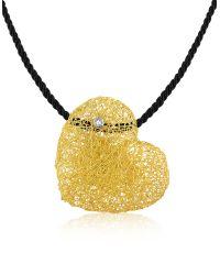 Orlando Orlandini | Yellow Arianna - Small Diamond Heart Pendant W/rubber Lace | Lyst