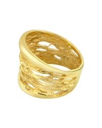Orlando Orlandini - Diamond Open-work 18k Yellow Gold Band Ring - Lyst