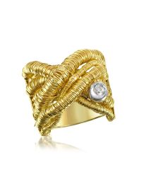 Orlando Orlandini | Capriccio - Diamond 18k Yellow Gold Crossover Ring | Lyst