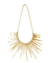 Pluma | Metallic Sunburst Golden Brass Necklace | Lyst